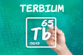 Symbol for the chemical element terbium — Photo