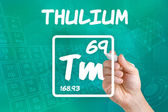 Symbol for the chemical element thulium — Stok fotoğraf