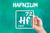 Symbol for the chemical element hafnium — Stok fotoğraf