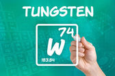 Symbol for the chemical element tungsten — Stok fotoğraf