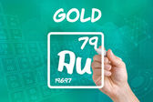 Symbol for the chemical element gold — 图库照片