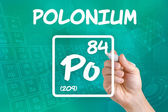 Symbol for the chemical element polonium — Stock Photo