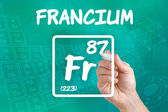 Symbol for the chemical element francium — Stock Photo