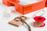 First Aid Kit with dressing material — Stock Photo