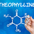 Stock Photo: Hand with pen drawing chemical formulof theophylline