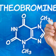 Stock Photo: Hand with pen drawing chemical formulof theobromine