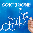 Hand with pen drawing the chemical formula of cortisone — Stock Photo