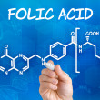 Hand with pen drawing chemical formulof folic acid — Stock Photo #36415717