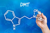 Hand with pen drawing the chemical formula of DMT — Stockfoto