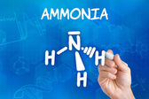 Hand with pen drawing the chemical formula of ammonia — Stok fotoğraf