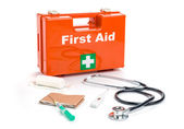 First aid kit with medical products and equipment — Stock Photo