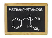 Chemical formula of methamphetamine — 图库照片