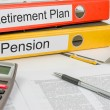 Stock Photo: Folders with label Retirement Pland Pension