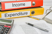 Folders with the label Income and Expenditure — Stock Photo