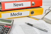 Folders with the label News and Media — Stock Photo