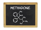 Chemical formula of methadone on a blackboard — Foto de Stock