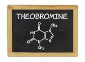 Chemical formula of theobromine on a blackboard — Stock Photo