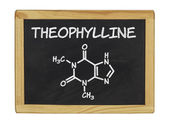 Chemical formula of theophylline on a blackboard — Stockfoto