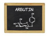Bir tahta üzerinde arbutin kimyasal formülü — Stok fotoğraf