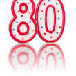 Stock Photo: Red number 80 with reflection