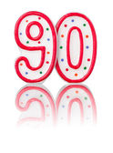 Red number 90 with reflection — Stock Photo