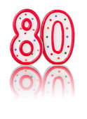 Red number 80 with reflection — Foto Stock