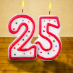 Burning birthday candles number 25 — Stock Photo #42526547