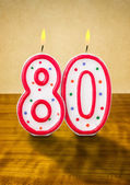 Burning birthday candles number 80 — Stock Photo
