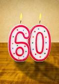 Burning birthday candles number 60 — Stock Photo
