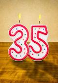 Burning birthday candles number 35 — Stock Photo