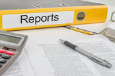 Folder with the label Reports — Stock Photo