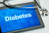 Tablet with the diagnosis diabetes on the display — Stock Photo