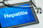 Tablet with the diagnosis hepatitis on the display — Stock Photo