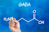 Hand with pen drawing the chemical formula of GABA — Stok fotoğraf