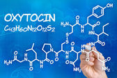 Hand with pen drawing the chemical formula of Oxytocin — Stock Photo