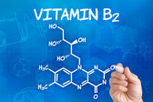 Hand with pen drawing the chemical formula of  Vitamin B2 — Stok fotoğraf