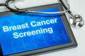 Tablet with the text Breast Cancer Screening on the display — Stock Photo