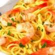Pasta with shrimps — Stock Photo