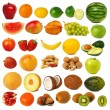Fruits and nuts collection — Stock Photo