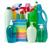 Various bottles with cleaning supplies — Stock Photo