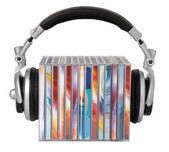 Auriculares y cds — Foto de Stock