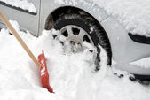 Car stuck in snow — Stock Photo