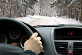 Driving in winter — Stok fotoğraf