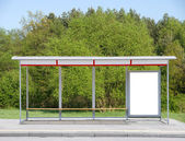 Bus stop in the street — Stock Photo