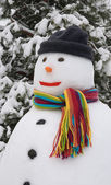 Snowman wearing colorful scarf — Stock Photo