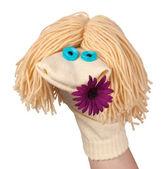 Marionnette chaussette drôle avec une fleur — Photo