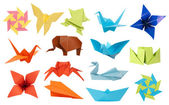 Origami paper toys collection — Stock Photo