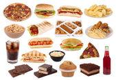 Snabbmat och snacks samling — Stockfoto