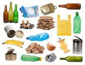 Amostras de lixo isoladas no branco — Foto Stock