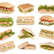 Sandwiches isolated on white  — Stock fotografie